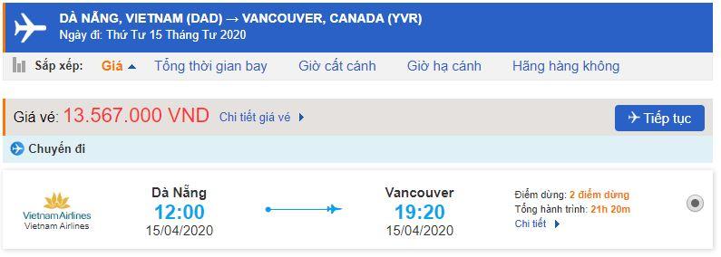 Vé máy bay Đà Nẵng đi Canada Vancouver