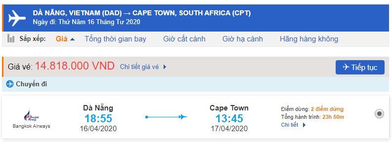 Vé máy bay đi Cape Town từ Đà Nẵng