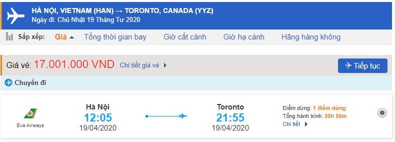 Vé máy bay đi Toronto từ Hà Nội