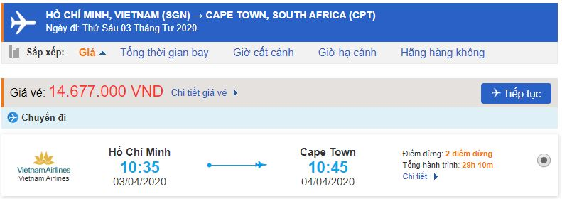 Vé máy bay đi Nam Phi bao nhiêu tiền?