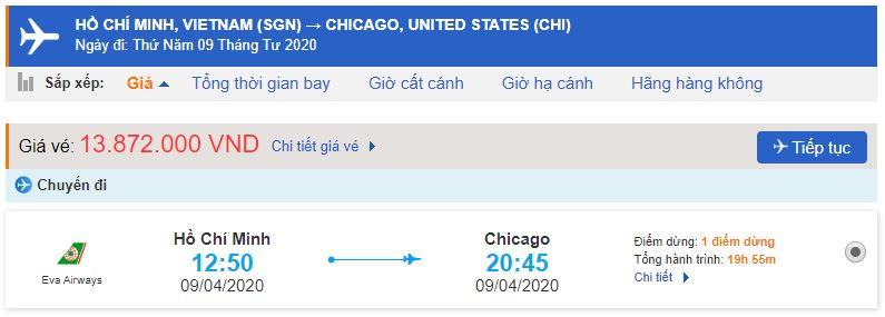 Vé máy bay từ TPHCM đi Chicago