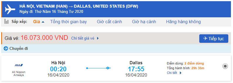 Giá vé máy bay đi Dallas Texas