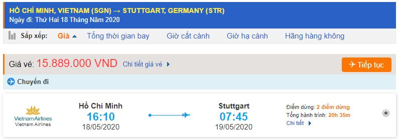 Vé máy bay từ TPHCM đi Stuttgart