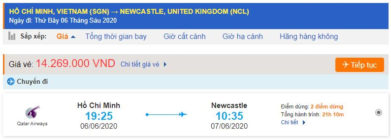 Giá vé máy bay từ TPHCM đi Newcastle