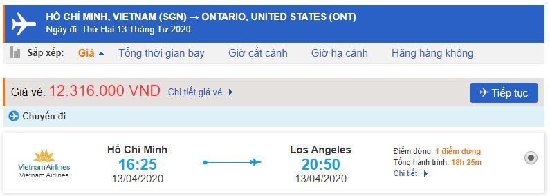 Vé máy bay từ TPHCM đi Ontario