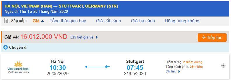 Giá vé máy bay từ Hà Nội đi Stuttgart