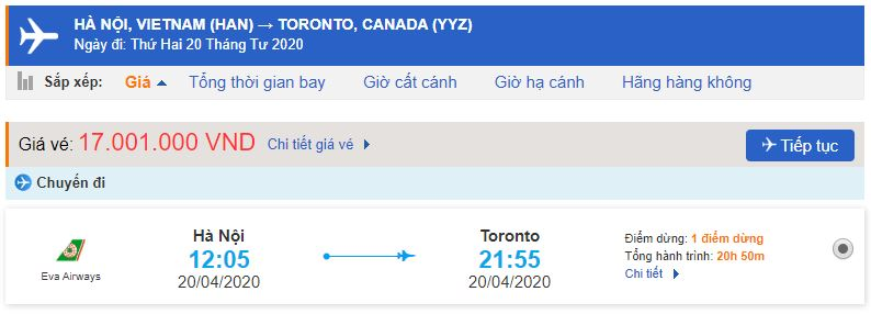 Vé máy bay Hà Nội Toronto bao nhiêu tiền