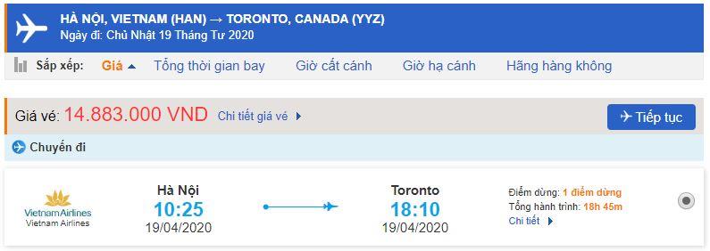 Vé máy bay đi Toronto Vietnam Airlines từ Hà Nội