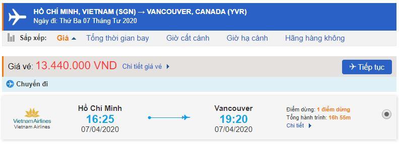 Vé máy bay đi Vancouver từ Hồ Chí Minh