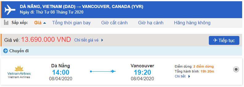 Vé máy bay Đà Nẵng Vancouver