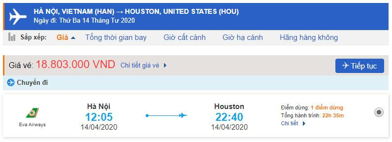 Vé máy bay Eva đi Houston từ Hà Nội