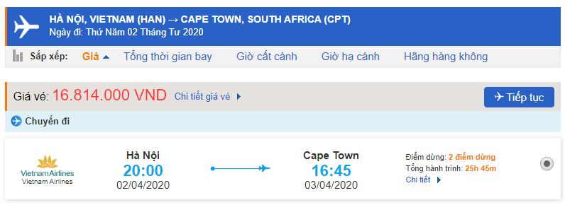Vé máy bay đi Cape Town Nam Phi từ Hà Nội