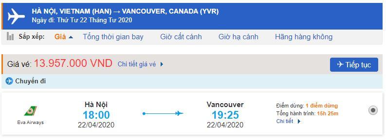 Vé máy bay Eva đi Canada Vancouver