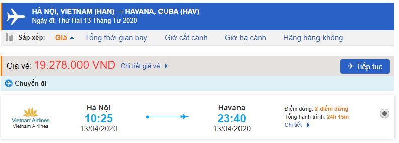 Vé máy bay từ Hà Nội đi Havana Vietnam Airlines