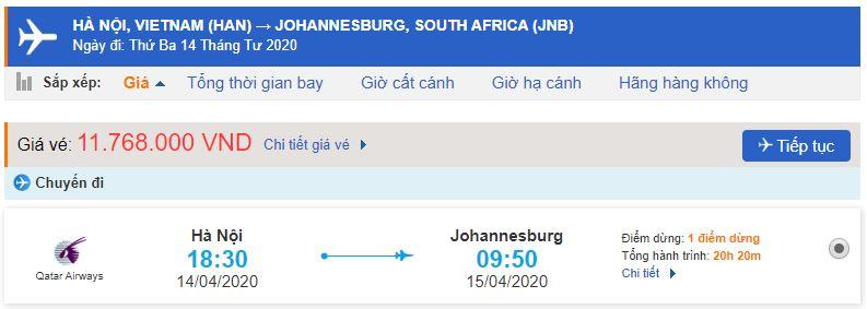 Giá vé máy bay Hà Nội đi Johannesburg giá rẻ