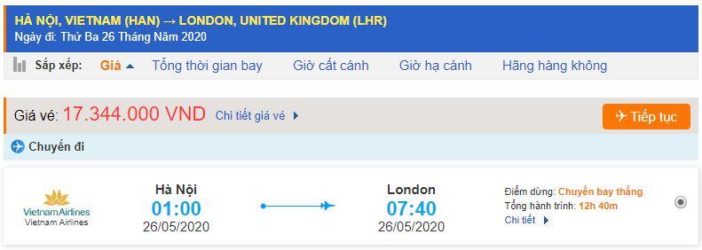 Vé máy bay Vietnam Airlines đi Luân Đôn