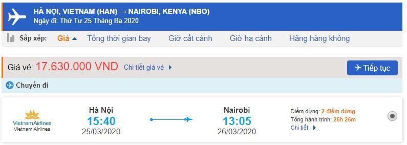 Vé máy bay Hà Nội đi Nairobi