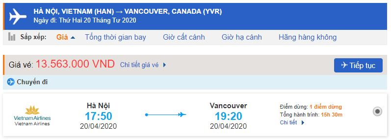 Giá vé máy bay đi Vancouver Vietnam Airlines