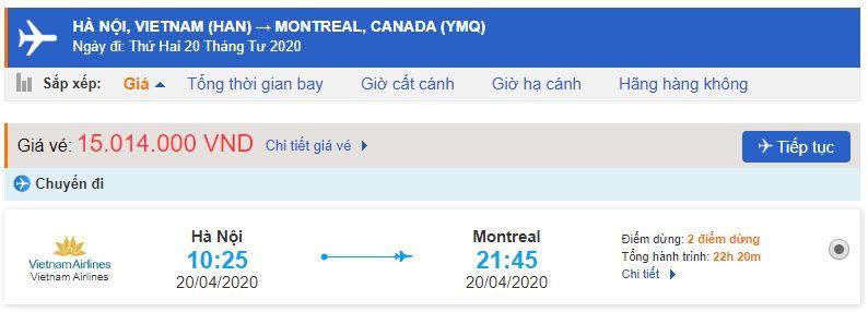 Vé máy bay đi Montreal Vietnam Airlines