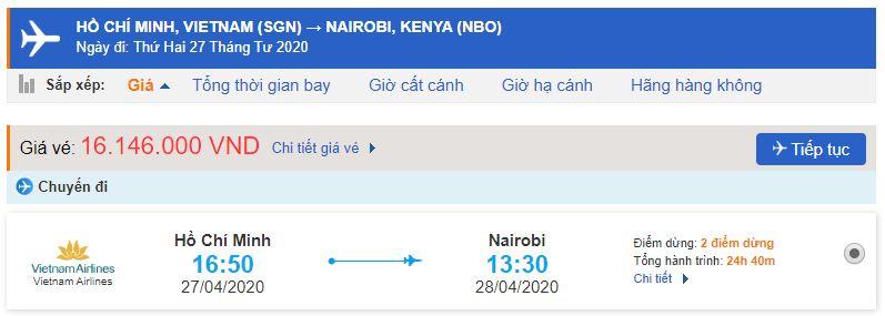 Giá vé máy bay đi Nairobi Vietnam Airlines