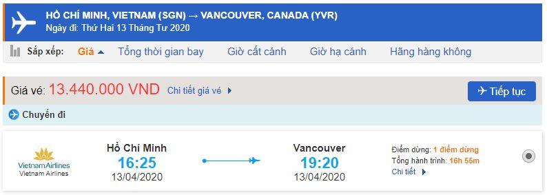 Vé máy bay từ Sài Gòn đi Vancouver