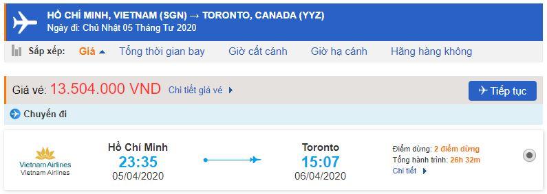 Vé máy bay đi Toronto từ Hồ Chí Minh