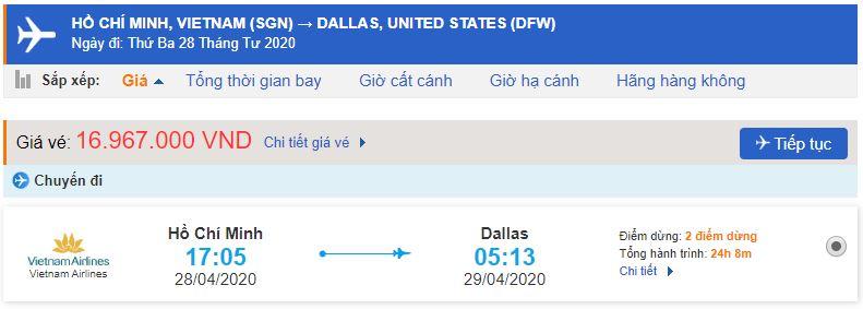 Vé máy bay từ HCM đi Dallas