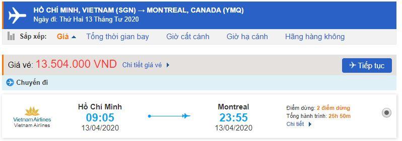 Vé máy bay Sài gòn đi Montreal Vietnam Airlines