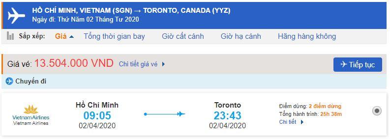 Vé máy bay TPHCM đi Toronto