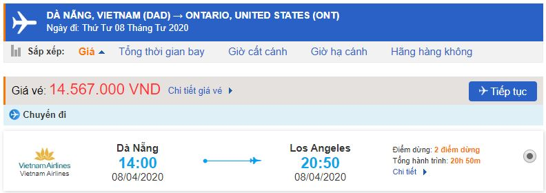 Vé máy bay đi Ontario từ Đà Nẵng