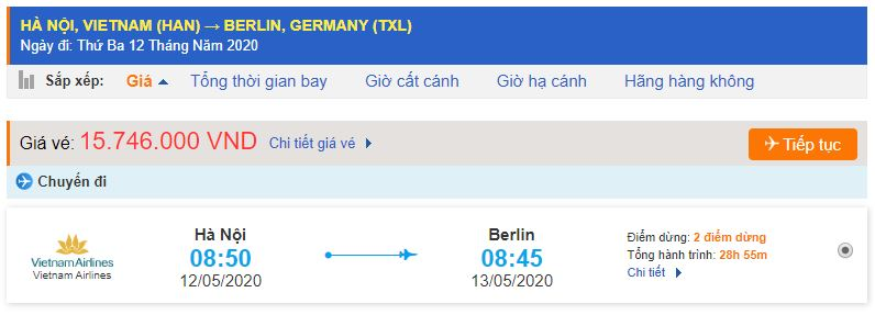 Vé máy bay đi Berlin từ Hà Nội