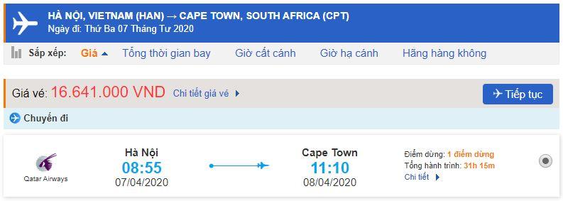 Vé máy bay từ Hanoi đi Cape Town giá rẻ