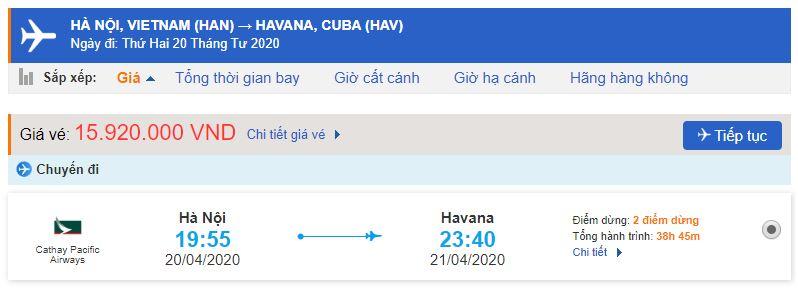 Vé máy bay từ Hà Nội đi Cuba