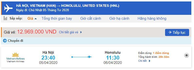 Vé máy bay từ Hà Nội đi Honolulu
