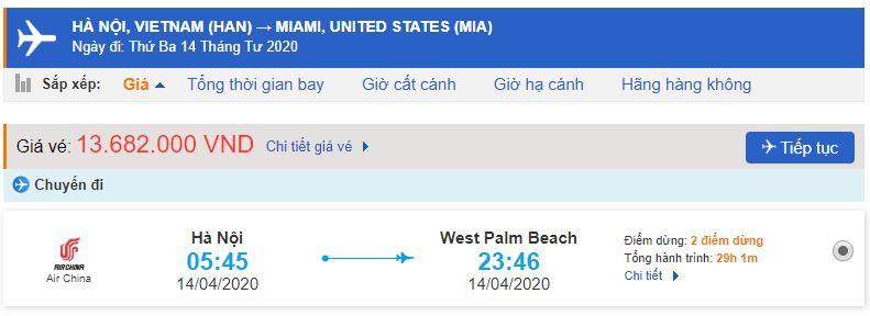 Vé máy bay từ Hà Nội đi Miami