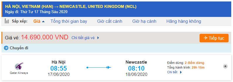 Vé máy bay từ Hà Nội đi Newcastle giá rẻ