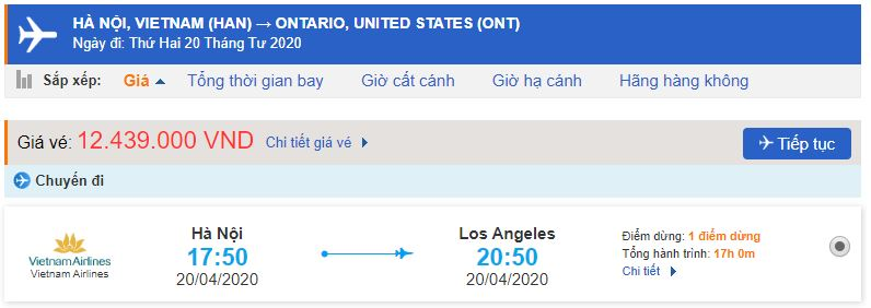 Vé máy bay đi Ontario Vietnam Airlines