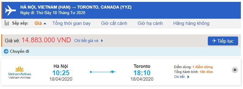 Đặt vé máy bay đi Toronto Canada Vietnam Airlines