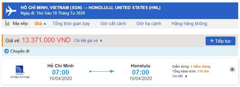 Giá vé máy bay từ TPHCM đi Hawai