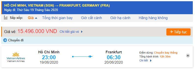 Giá vé máy bay TPHCM đi Đức Frankfurt