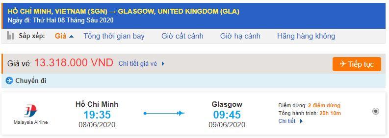 Vé máy bay từ TPHCM đi Glasgow