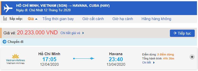 Vé máy bay từ TPHCM đi Havana