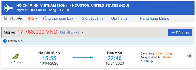Vé máy bay từ TPHCM đến Houston