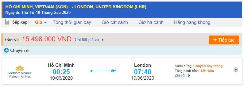 Vé máy bay đi London từ Hồ Chí Minh