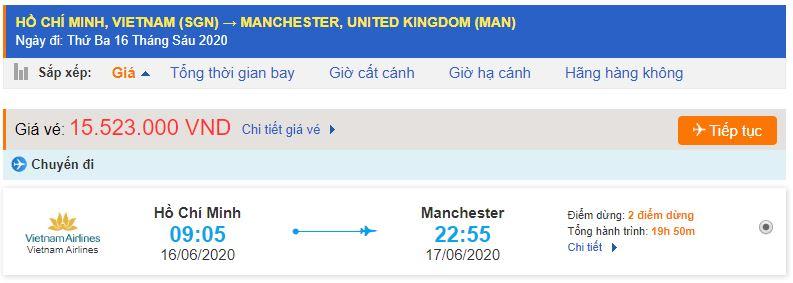 Vé máy bay đi Manchester Vietnam Airlines