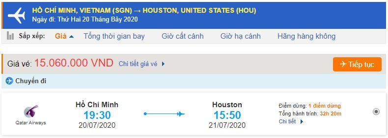 Vé máy bay từ TPHCM đi Texas Houston