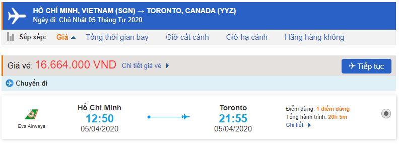 Vé máy bay đi Toronto Hồ Chí Minh
