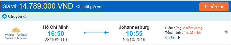 Vé máy bay đi Johannesburg từ Hồ Chí Minh