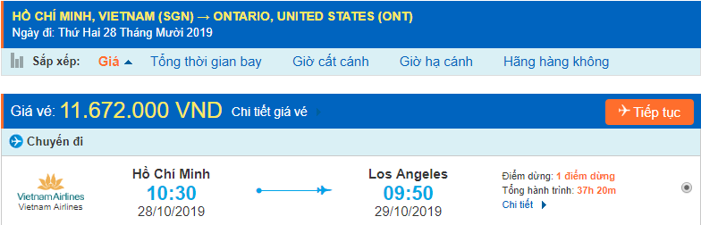 Vé máy bay đi Ontario từ Hồ Chí Minh
