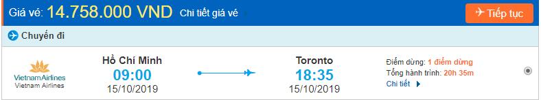 Vé máy bay sang Canada Toronto từ Hồ Chí Minh